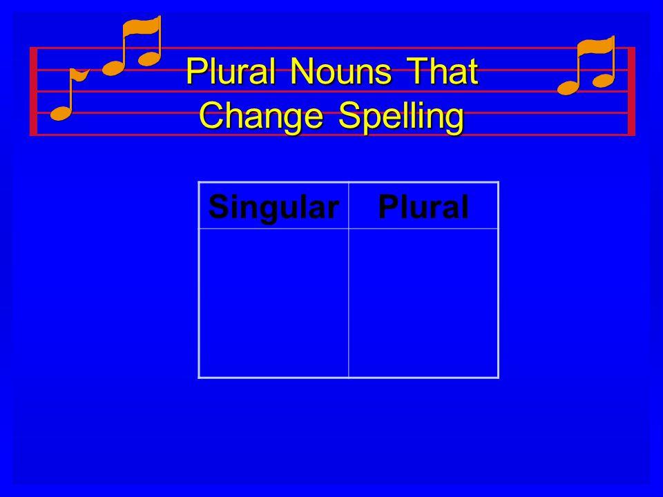 Plural Nouns That Change Spelling SingularPlural