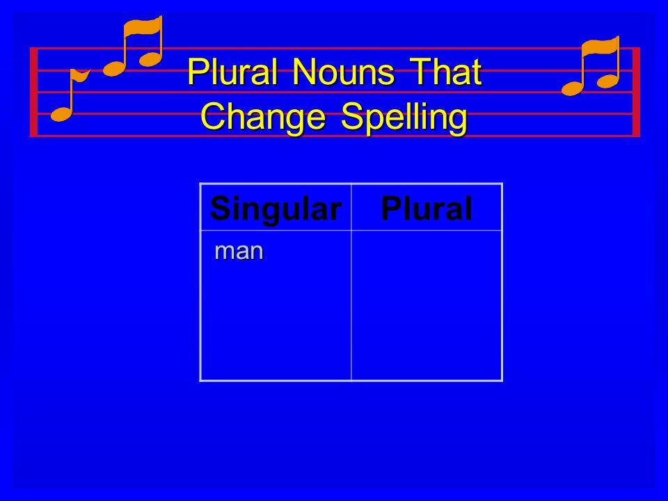 Plural Nouns That Change Spelling SingularPlural man man