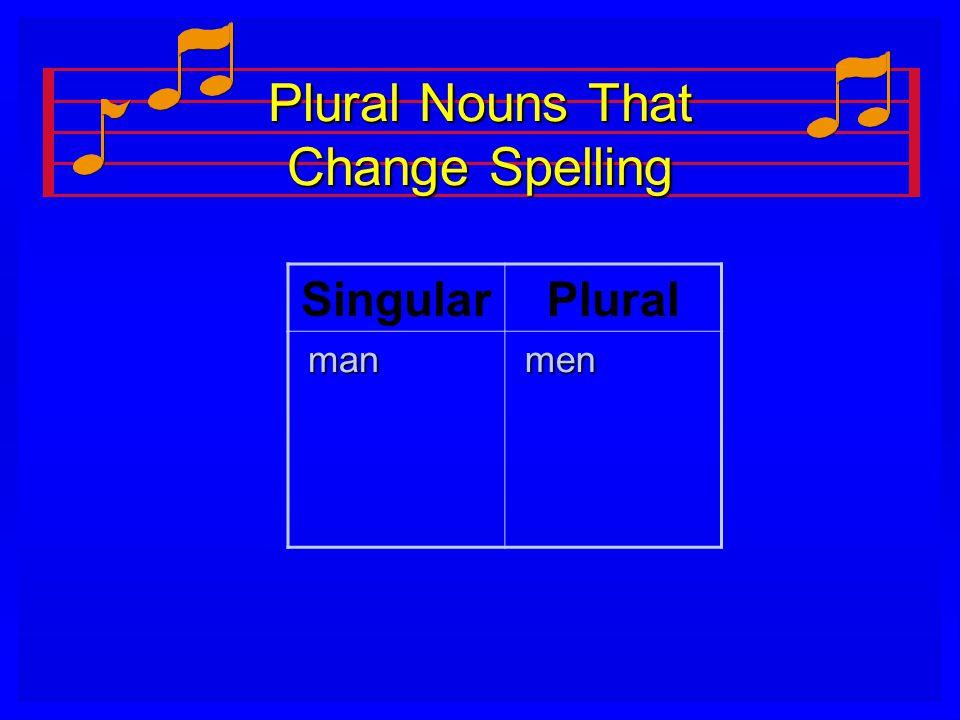 Plural Nouns That Change Spelling SingularPlural man man men men