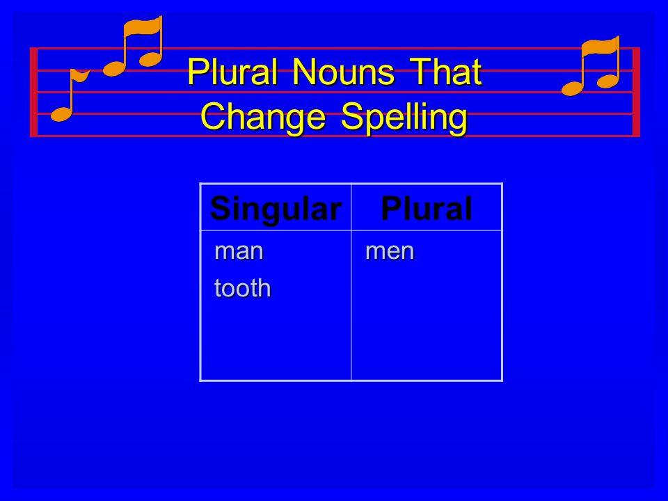 Plural Nouns That Change Spelling SingularPlural man man tooth tooth men men