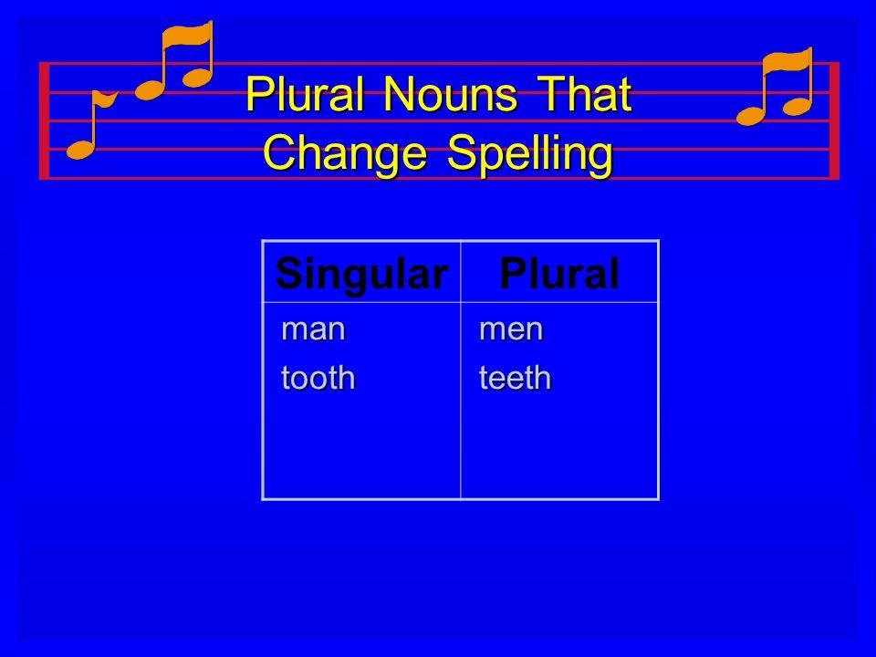 Plural Nouns That Change Spelling SingularPlural man man tooth tooth men men teeth teeth