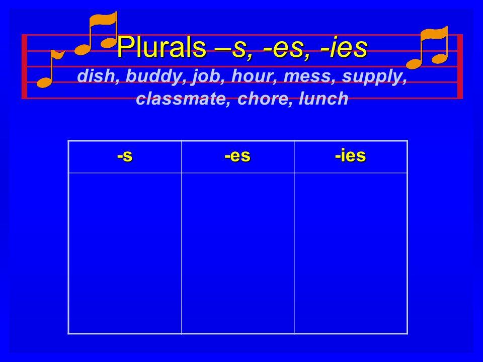 Plurals –s, -es, -ies Plurals –s, -es, -ies dish, buddy, job, hour, mess, supply, classmate, chore, lunch -s-es-ies