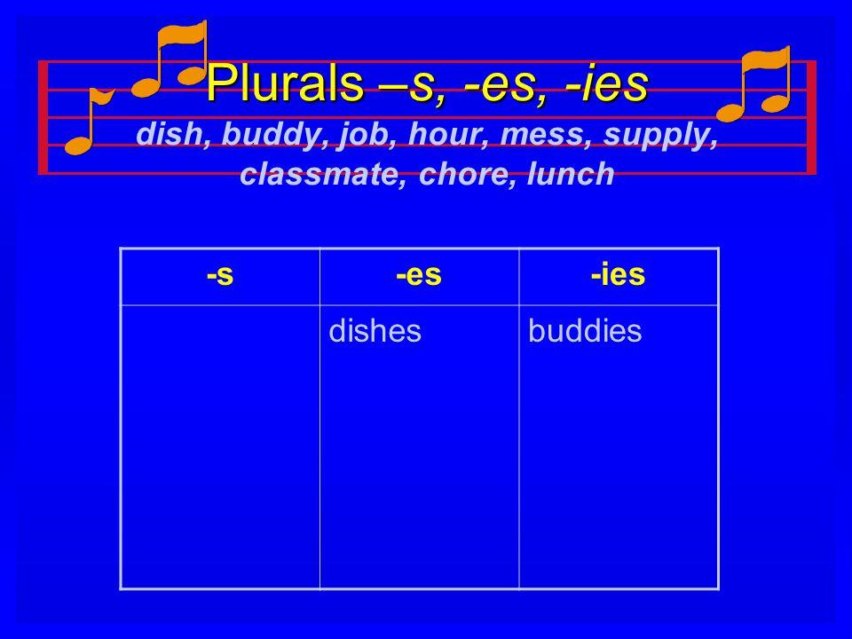 Plurals –s, -es, -ies Plurals –s, -es, -ies dish, buddy, job, hour, mess, supply, classmate, chore, lunch -s-es-ies dishesbuddies
