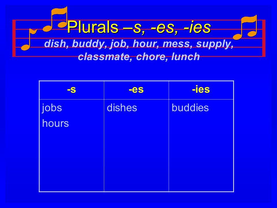 Plurals –s, -es, -ies Plurals –s, -es, -ies dish, buddy, job, hour, mess, supply, classmate, chore, lunch -s-es-ies jobs hours dishesbuddies