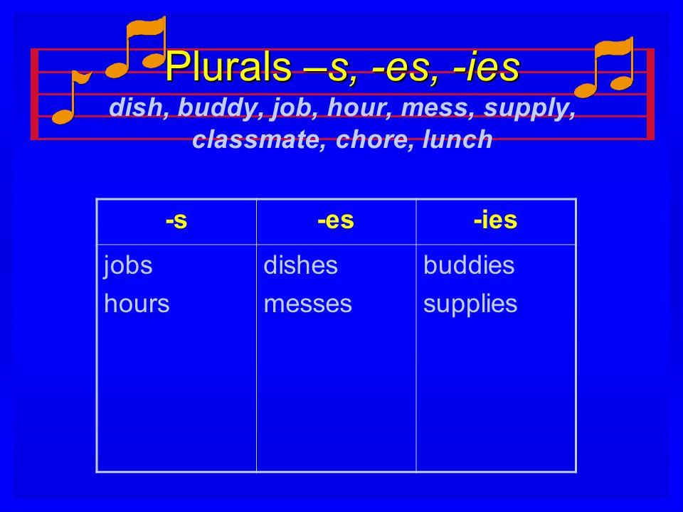 Plurals –s, -es, -ies Plurals –s, -es, -ies dish, buddy, job, hour, mess, supply, classmate, chore, lunch -s-es-ies jobs hours dishes messes buddies s