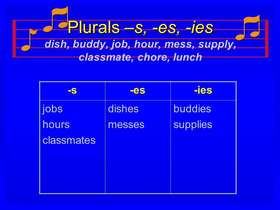 Plurals –s, -es, -ies Plurals –s, -es, -ies dish, buddy, job, hour, mess, supply, classmate, chore, lunch -s-es-ies jobs hours classmates dishes messe