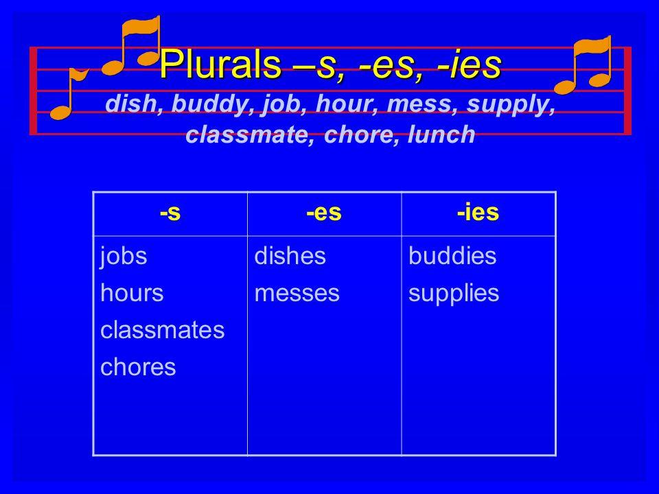 Plurals –s, -es, -ies Plurals –s, -es, -ies dish, buddy, job, hour, mess, supply, classmate, chore, lunch -s-es-ies jobs hours classmates chores dishe