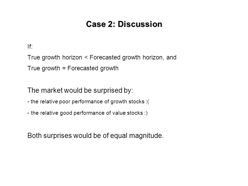 Case 2b today True horizon True earnings Forecasted earnings