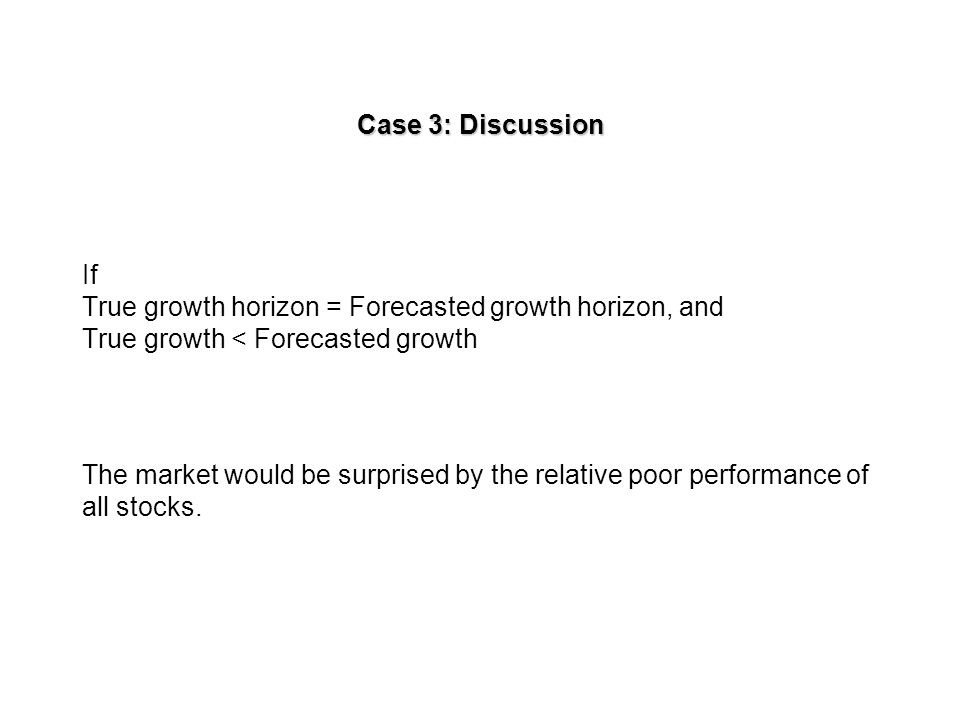Case 3b today True horizon True earnings Forecasted earnings