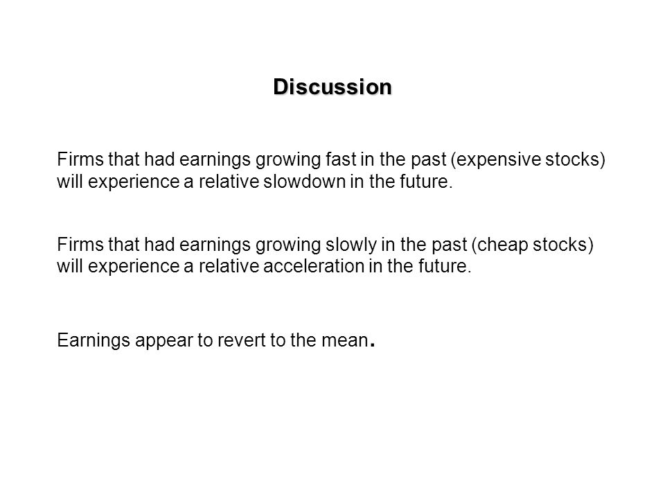 The relationship between P/E ratios and past and future earnings growth.