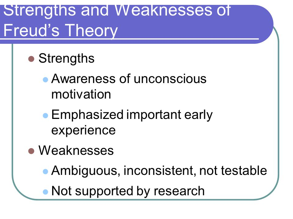 Strengths and Weaknesses of Freud's Theory Strengths Awareness of unconscious motivation Emphasized important early experience Weaknesses Ambiguous, i