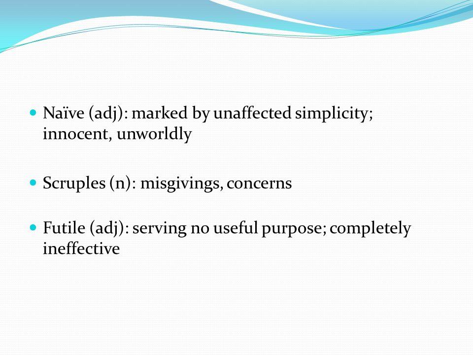 Naïve (adj): marked by unaffected simplicity; innocent, unworldly Scruples (n): misgivings, concerns Futile (adj): serving no useful purpose; complete