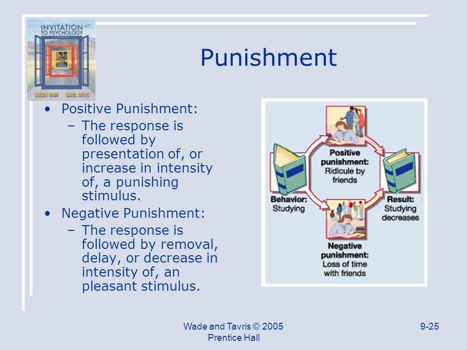 Wade and Tavris © 2005 Prentice Hall 9-25 Punishment Positive Punishment: –The response is followed by presentation of, or increase in intensity of, a punishing stimulus.