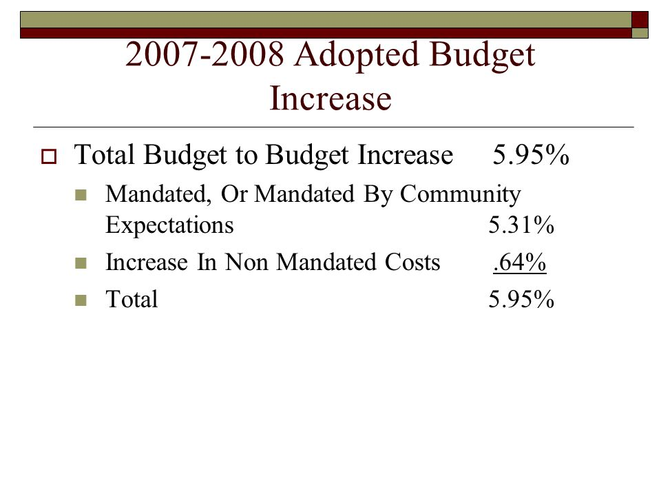 2007-2008 Adopted Budget Increase  Total Budget to Budget Increase 5.95% Mandated, Or Mandated By Community Expectations 5.31% Increase In Non Mandated Costs.64% Total 5.95%