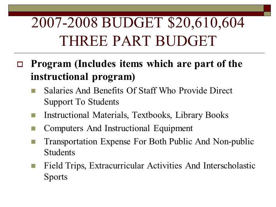 2007-2008 BUDGET $20,610,604 THREE PART BUDGET  Program (Includes items which are part of the instructional program) Salaries And Benefits Of Staff Who Provide Direct Support To Students Instructional Materials, Textbooks, Library Books Computers And Instructional Equipment Transportation Expense For Both Public And Non-public Students Field Trips, Extracurricular Activities And Interscholastic Sports