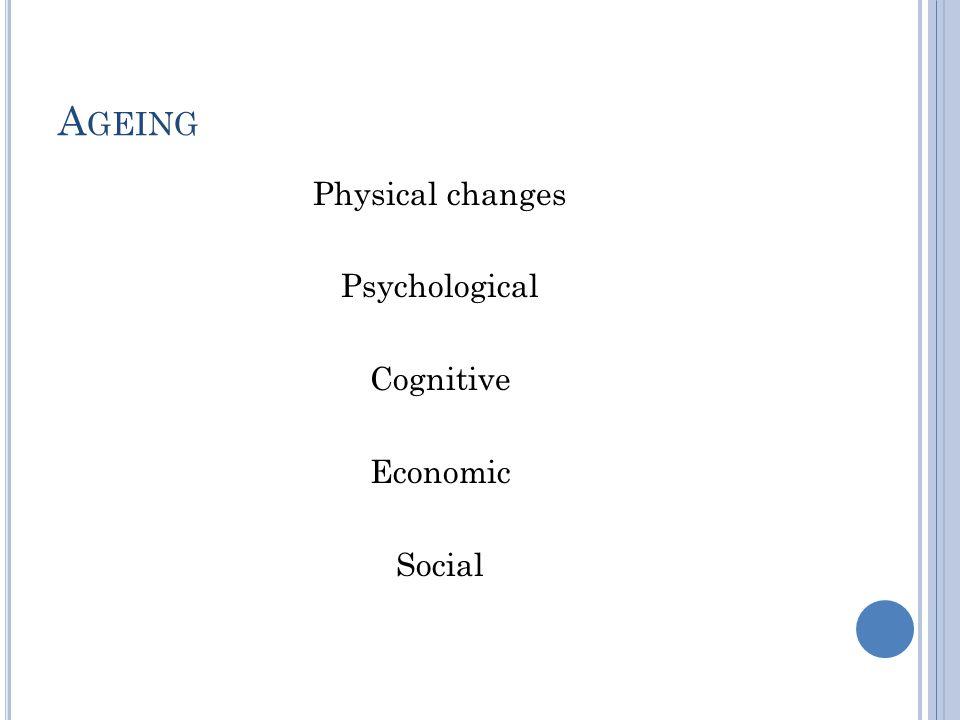 A GEING Physical changes Psychological Cognitive Economic Social
