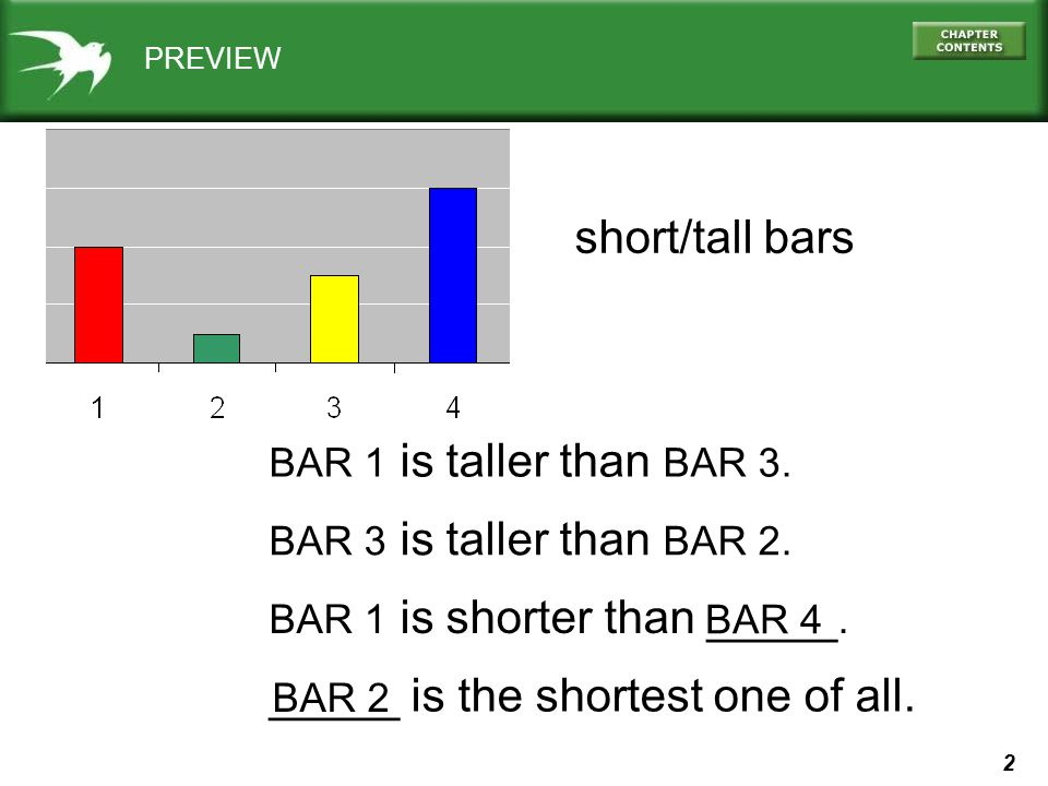 2 PREVIEW short/tall bars BAR 1 is taller than BAR 3.