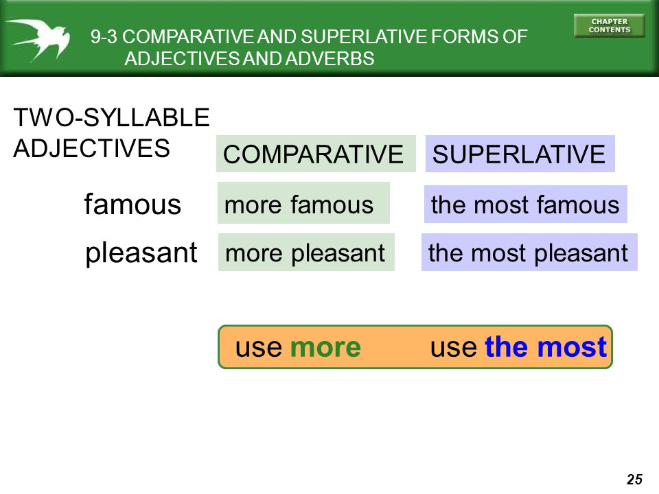 25 9-3 COMPARATIVE AND SUPERLATIVE FORMS OF ADJECTIVES AND ADVERBS TWO-SYLLABLE ADJECTIVES COMPARATIVESUPERLATIVE famous pleasant more famous more pleasant the most famous the most pleasant use moreuse the most