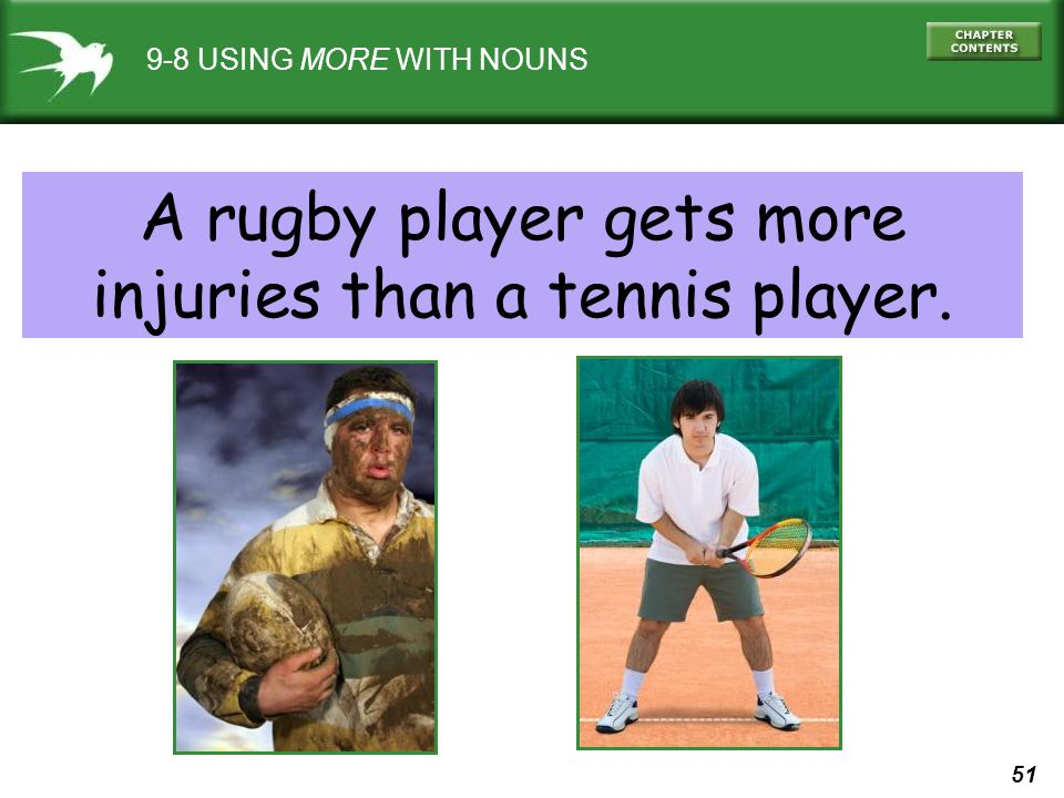 51 9-8 USING MORE WITH NOUNS A rugby player gets more injuries than a tennis player.