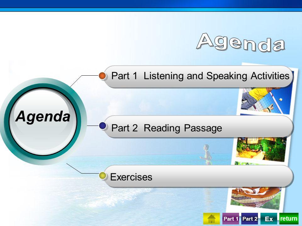 return Part 1 Part 2 Part 2 Ex Part 1 Listening and Speaking Activities Part 2 Reading Passage Exercises Agenda