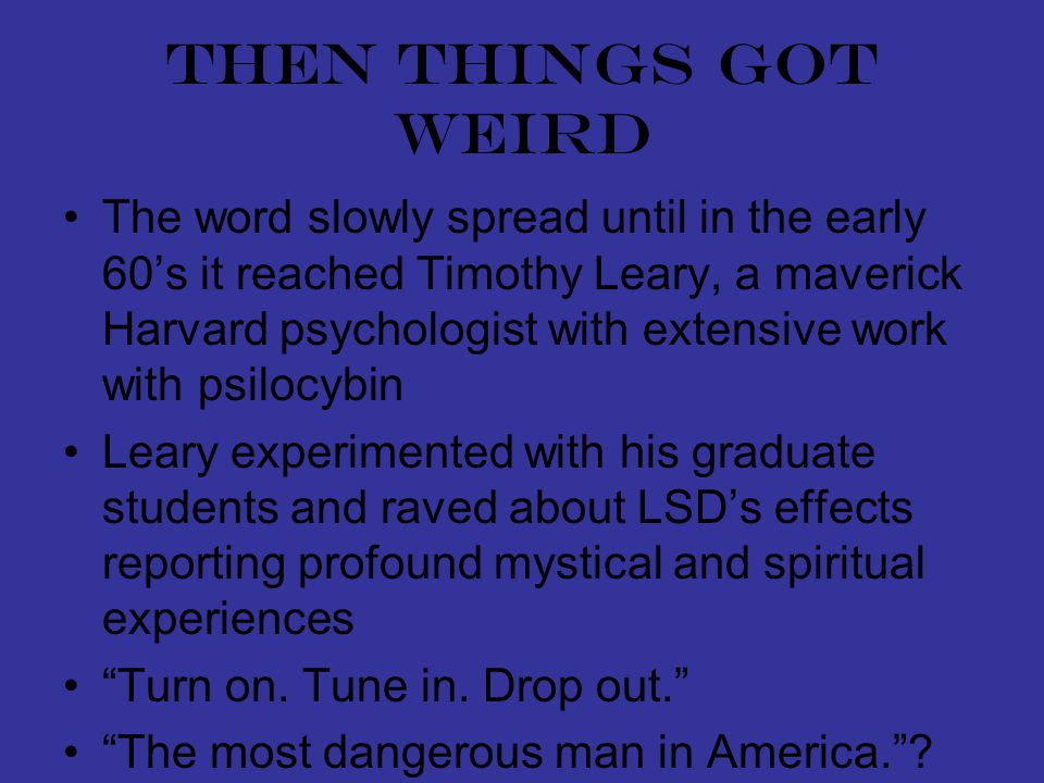 Then things got weird The word slowly spread until in the early 60's it reached Timothy Leary, a maverick Harvard psychologist with extensive work with psilocybin Leary experimented with his graduate students and raved about LSD's effects reporting profound mystical and spiritual experiences Turn on.