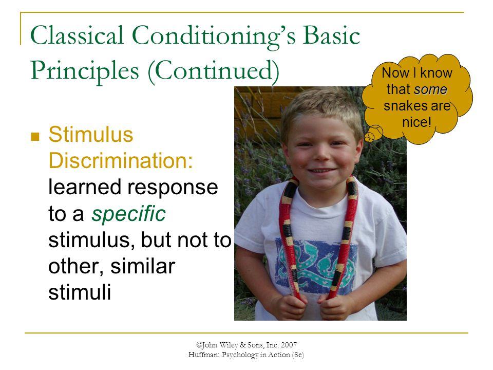 ©John Wiley & Sons, Inc. 2007 Huffman: Psychology in Action (8e) Classical Conditioning's Basic Principles (Continued) Stimulus Discrimination: learne