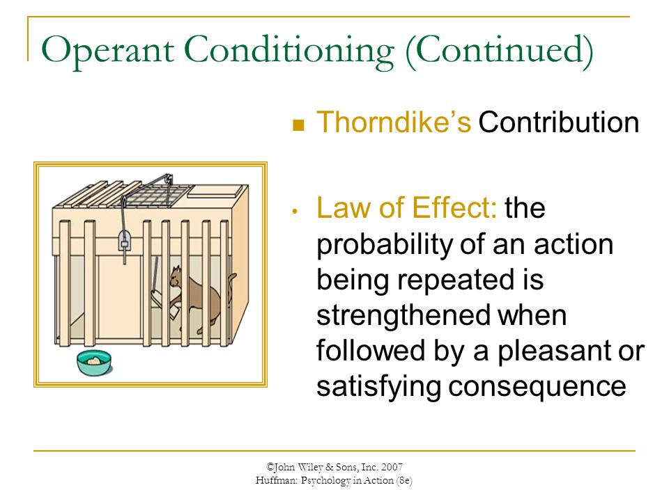 ©John Wiley & Sons, Inc. 2007 Huffman: Psychology in Action (8e) Operant Conditioning (Continued) Thorndike's Contribution Law of Effect: the probabil