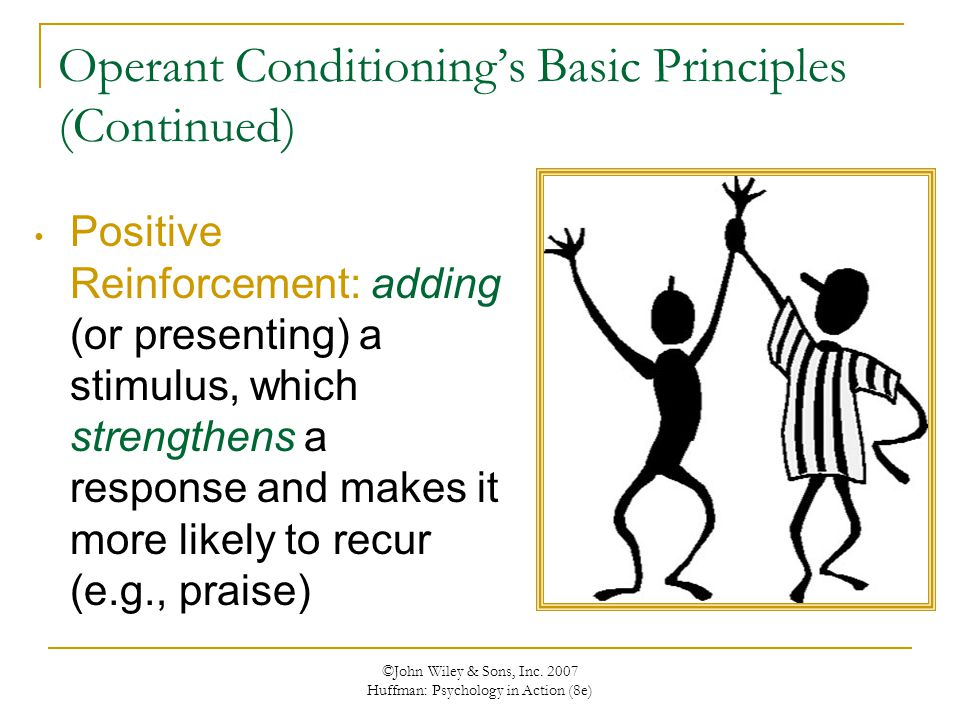 ©John Wiley & Sons, Inc. 2007 Huffman: Psychology in Action (8e) Operant Conditioning's Basic Principles (Continued) Positive Reinforcement: adding (o