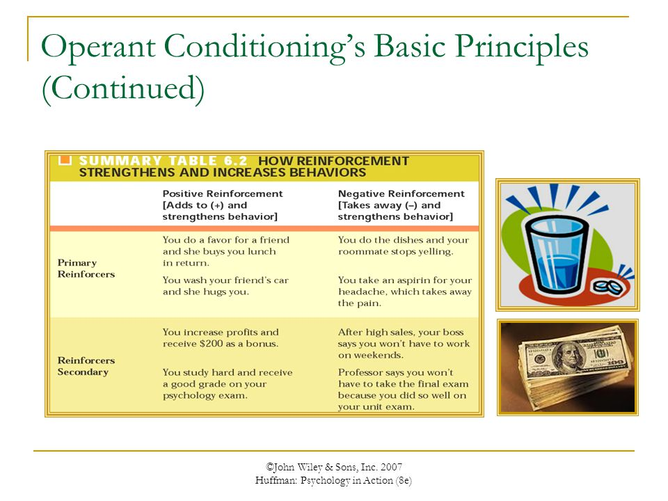 ©John Wiley & Sons, Inc. 2007 Huffman: Psychology in Action (8e) Operant Conditioning's Basic Principles (Continued)