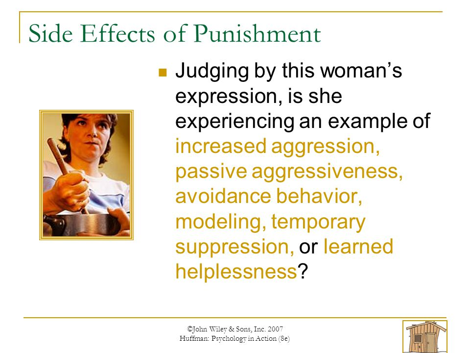 Side Effects of Punishment Judging by this woman's expression, is she experiencing an example of increased aggression, passive aggressiveness, avoidance behavior, modeling, temporary suppression, or learned helplessness?