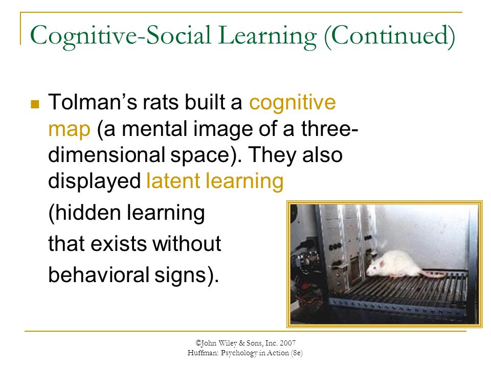 ©John Wiley & Sons, Inc. 2007 Huffman: Psychology in Action (8e) Cognitive-Social Learning (Continued) Tolman's rats built a cognitive map (a mental i
