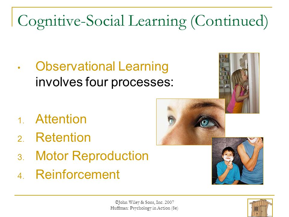 ©John Wiley & Sons, Inc. 2007 Huffman: Psychology in Action (8e) Cognitive-Social Learning (Continued) Observational Learning involves four processes:
