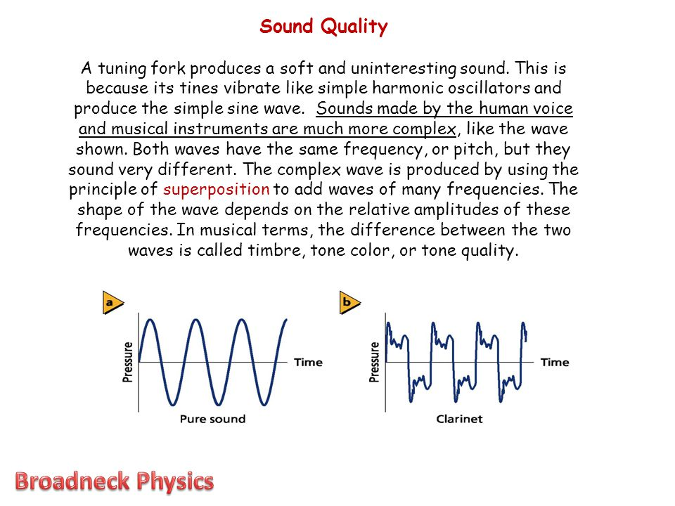 Sound Quality A tuning fork produces a soft and uninteresting sound. This is because its tines vibrate like simple harmonic oscillators and produce th