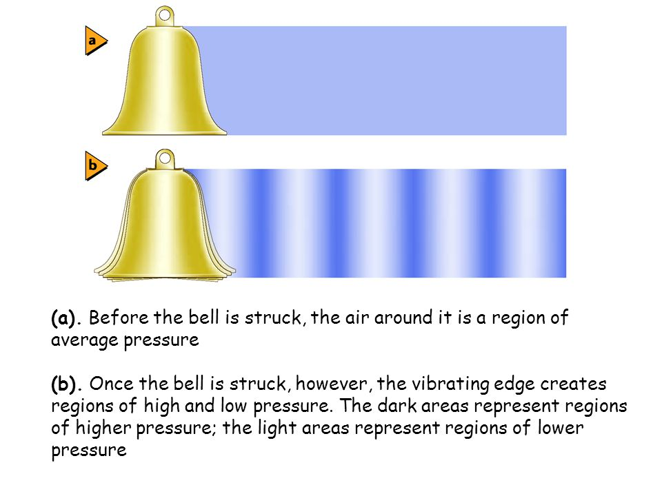 (a). Before the bell is struck, the air around it is a region of average pressure (b). Once the bell is struck, however, the vibrating edge creates re