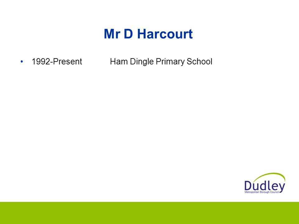 Mr D Harcourt 1992-PresentHam Dingle Primary School