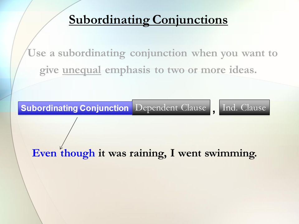 Subordinating Conjunctions After Although As As if As long as As much as As soon as Because Before Even if Even though If In order that Now that Since So that Though Unless Until When Whenever Where Wherever While