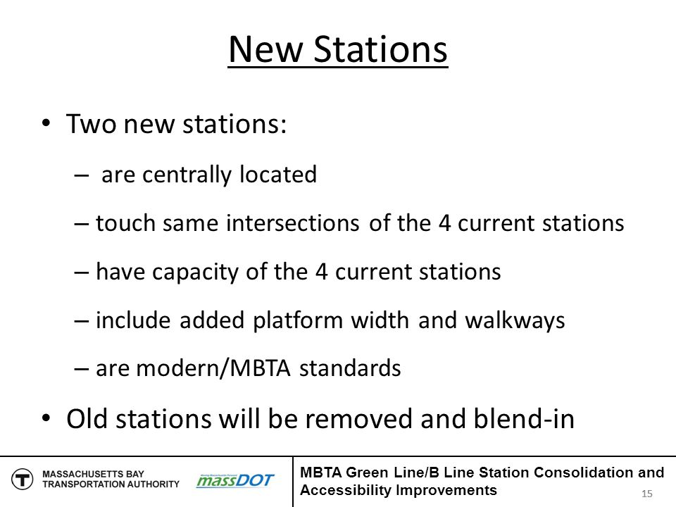 New Stations Two new stations: – are centrally located – touch same intersections of the 4 current stations – have capacity of the 4 current stations
