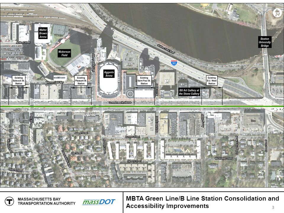 Interagency Coordination COB Project to precede MBTA project - MBTA project cannot commence until COB Project is completed COB design accommodates MBTA needs Close coordination is required in design and construction of both projects 14 MBTA Green Line/B Line Station Consolidation and Accessibility Improvements