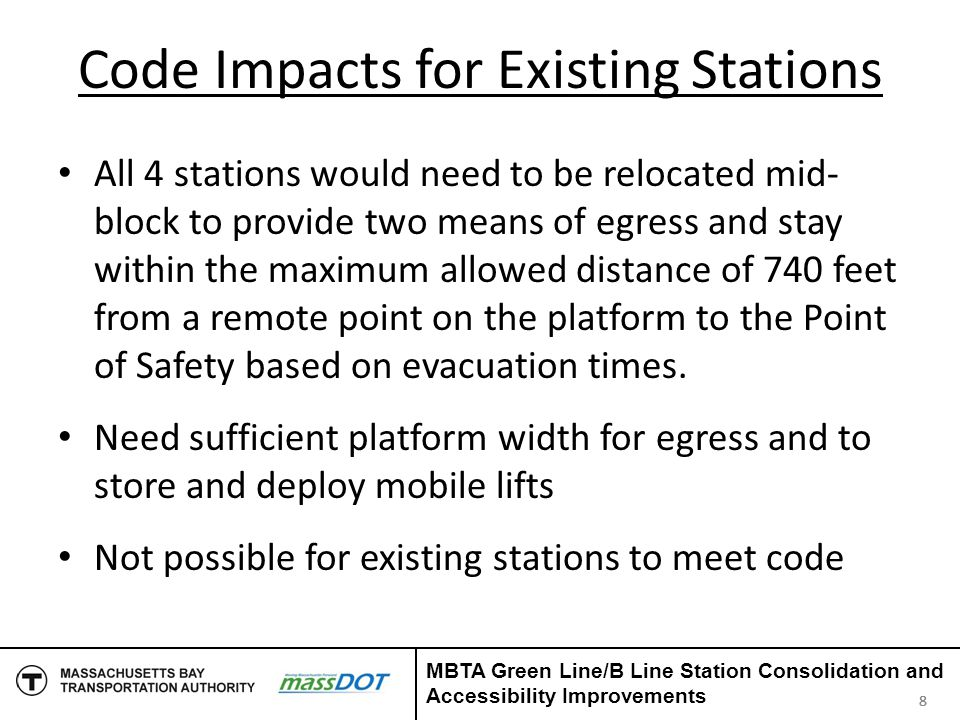 MBTA Decision MBTA explored alternatives Reviewed Accessibility and Building Code Compliance, Safety, Green Line Operations, and Engineering Compatibility with the COB Project Most of the alternatives didn't meet criteria Only one alternative met the criteria 999 MBTA Green Line/B Line Station Consolidation and Accessibility Improvements