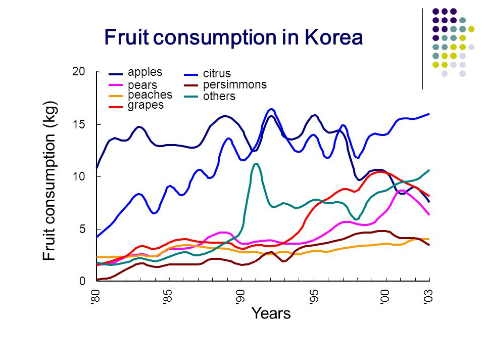 0 5 10 15 20 80 85 90 95 00 03 Years Fruit consumption (kg) apples pears peaches grapes citrus persimmons others Fruit consumption in Korea