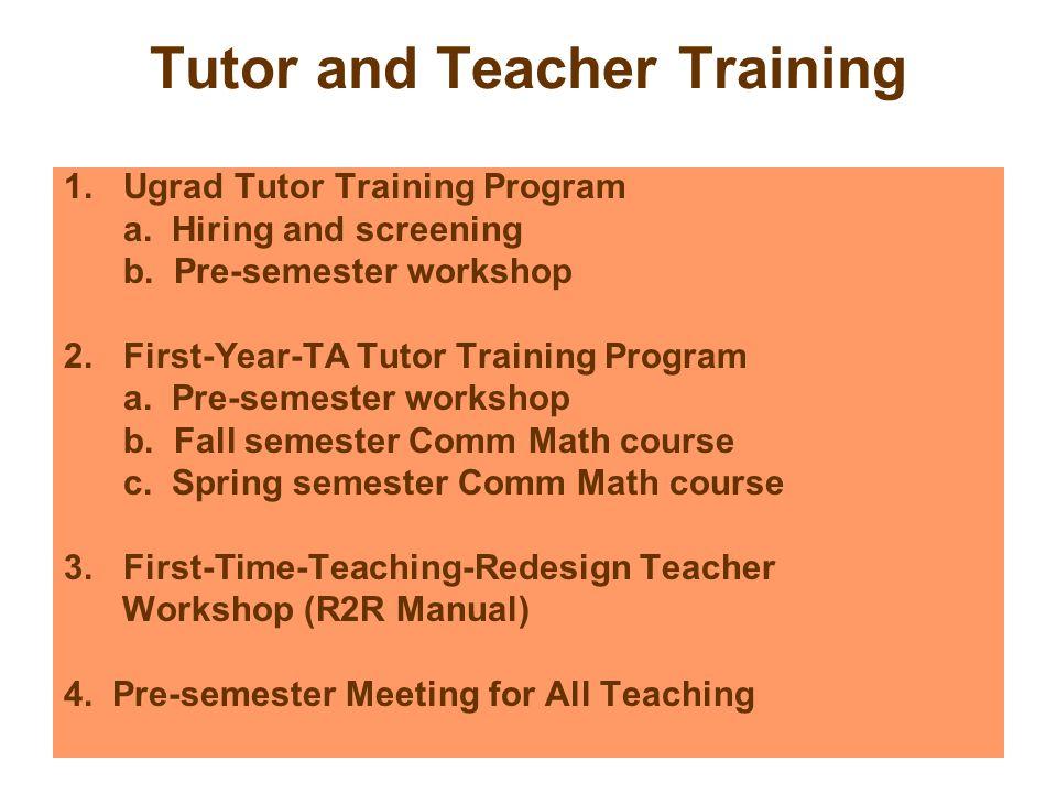 Tutor and Teacher Training 1.Ugrad Tutor Training Program a.