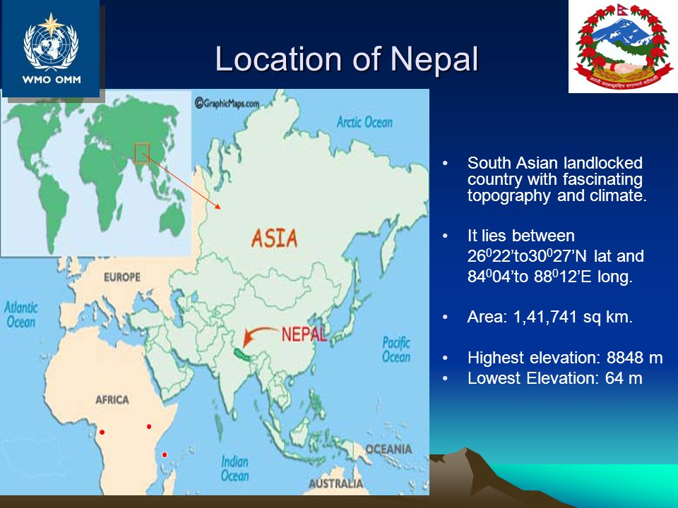 Location of Nepal South Asian landlocked country with fascinating topography and climate.
