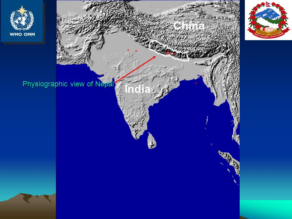Physiographic view of Nepal KTM D China India