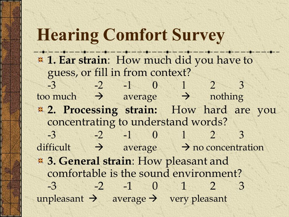 Hearing Comfort Survey 1. Ear strain : How much did you have to guess, or fill in from context.