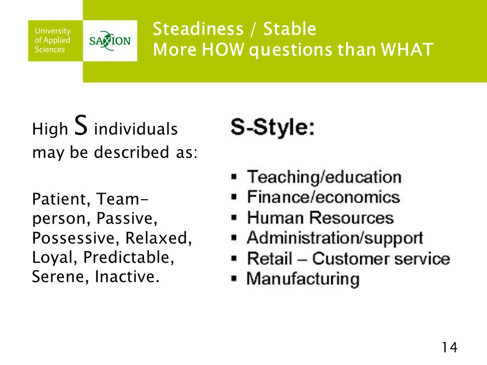 Steadiness / Stable More HOW questions than WHAT High S individuals may be described as: Patient, Team- person, Passive, Possessive, Relaxed, Loyal, Predictable, Serene, Inactive.