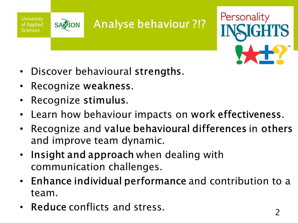 Analyse behaviour ?!.Discover behavioural strengths.