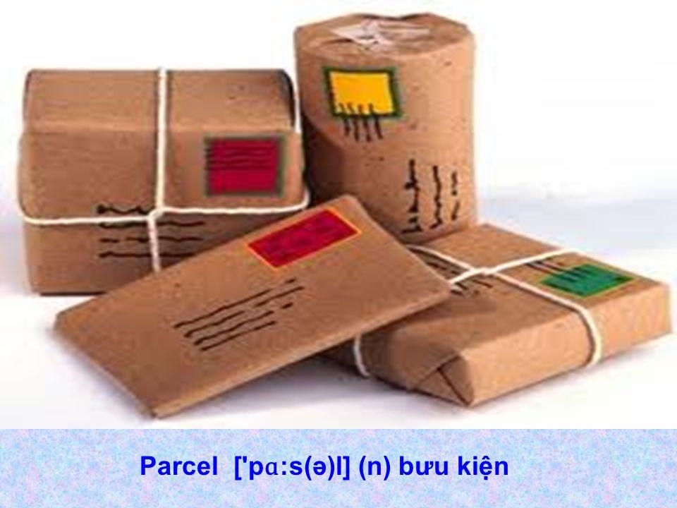 Parcel [ p ɑ :s(ə)l] (n) bưu kiện