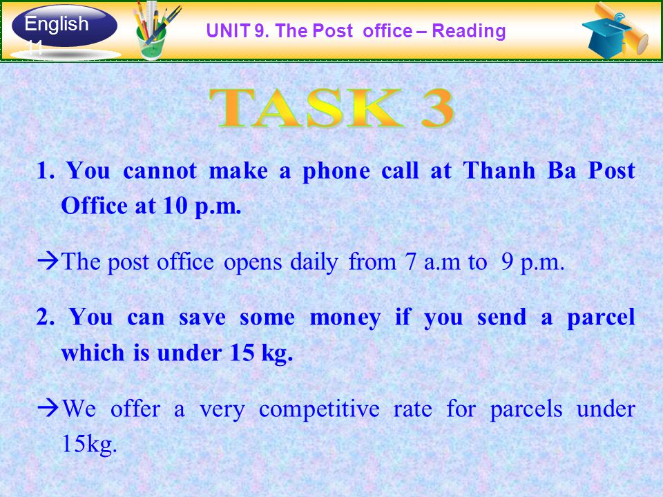 1. You cannot make a phone call at Thanh Ba Post Office at 10 p.m.  The post office opens daily from 7 a.m to 9 p.m. 2. You can save some money if yo