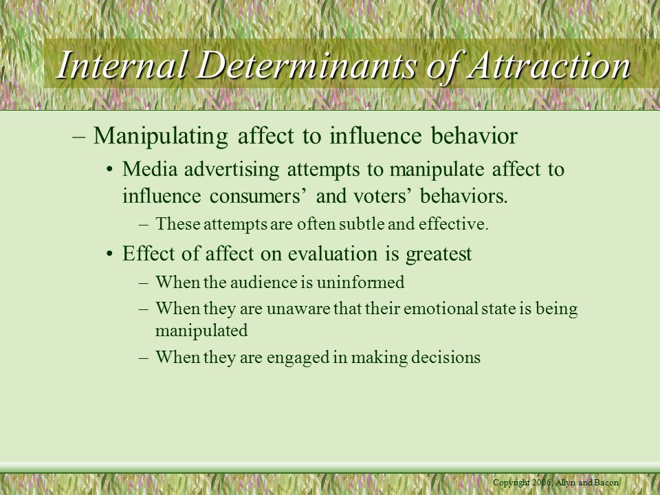 Copyright 2006, Allyn and Bacon Internal Determinants of Attraction –Manipulating affect to influence behavior Media advertising attempts to manipulate affect to influence consumers' and voters' behaviors.