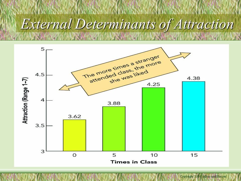 Copyright 2006, Allyn and Bacon External Determinants of Attraction